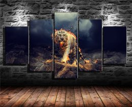 Discount figure one piece nude - White Tiger Fire,5 Pieces Home Decor HD Printed Modern Art Painting on Canvas (Unframed Framed)