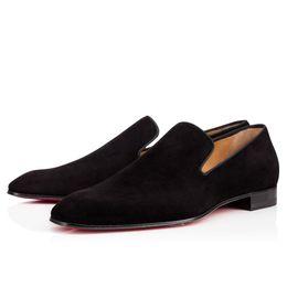 White oxford shoes men online shopping - Original Box Red Bottom Casual Walking Women Men Slip On Denim Spikes Loafers Shoes Wedding Party Gentlemen Dress Wedding Oxford