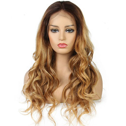 $enCountryForm.capitalKeyWord Australia - Ombre Human Hair Full Lace Wig Body Wave Two Tone #4T#27 Glueless Lace Front Full Lace Wigs Ombre Hair Wig For Women