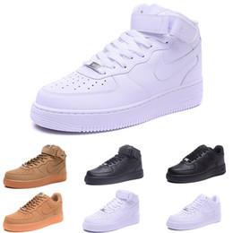 Todos los hombres clásicos de alta y zapatos bajos de los hombres blancos del trigo negro mujeres zapatillas de deporte de los zapatos corrientes de Forceing zapato de skate en venta