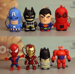 $enCountryForm.capitalKeyWord UK - LED Light cute Key Chains Superhero Batman Iron Man Spiderman Superman Captain America Keychain Mini Action Figure Toys Fashion Drop Ship