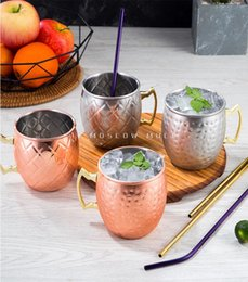 Wholesale High Quality Copper Mug Stainless Steel Beer Cup Moscow Mule Mug Rose Gold Hammered Copper Plated Drinkware