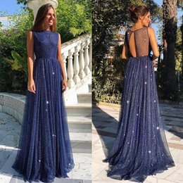 Pictures Cotton Gowns Australia - Vestido Royal Blue Long A Line Elegant Prom Evening Dress Crew Neck Long Sleeve Lace Hi Lo Party Gown Special Occasion Dresses Evening Gown