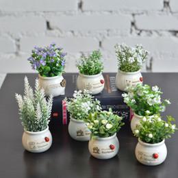 Deco Plants Australia - Mini Vehicle-mounted Potting Plants Perfume Decorate Artificial Flowers Greenery Home Deco Zeolite Acceptable Decorative Accessories In Car