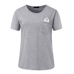 $enCountryForm.capitalKeyWord UK - T shirt women 2019 brand middle finger pocket cat print plus size women short T-shirt summer tshirt vestidos cheap cloth