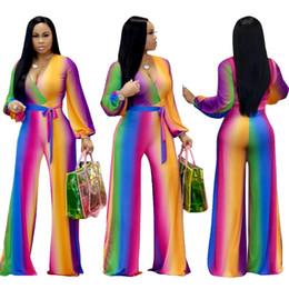 $enCountryForm.capitalKeyWord Australia - 2019 Multicolor Deep V Neck Playsuit Casual Wide Leg Women Jumpsuit Lace Up Loose Overalls