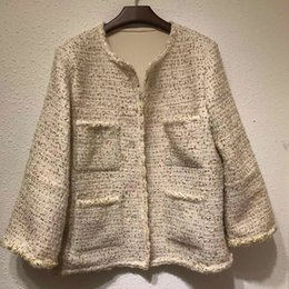 Wholesale Silk Jacket for Women long Sleeve O neck High Quality Elegant Lady Solid Coat for Winter new Women Coat