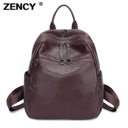 Full Grain Cowhide Genuine Leather Australia - ZENCY 100% Soft Natural Italian Genuine Leather Full Grain Leather Women Backpack Ladies Coffee Cowhide Bag Calfskin Backpacks #307693