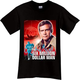 238e5aa6d27 The Six Million Dollar Man Steve Austin TV Series Black T-Shirt TShirt Sz  knitted comfortable fabric top Quality Cotton