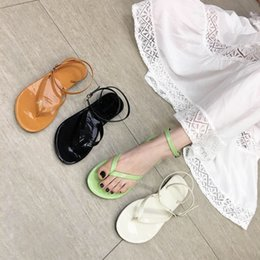 open gate Australia - Pretty2019 Gate East Women's Shoes Toe Leisure Time Flat Bottom Sandy Beach One Buckle Sandals