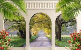 scenery paintings for living room Australia - European archway avenue scenery Murals Wallpaper 3D TV Background Large Wall Painting wallpapers for Living Room Mural wall Paper