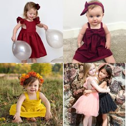 01a97368c8f Discount linen baby dresses - summer girls dress girls pure color small  flying sleeve pleated princess