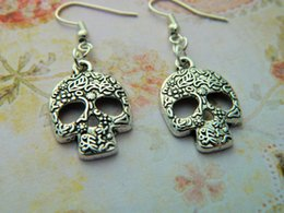 Bohemian Mask Australia - New Style Ancient Silver Skeleton Mask Pendant Charm Earring Personality Creative Women Jewelry Horror Exaggerated Accessories Holiday Gift