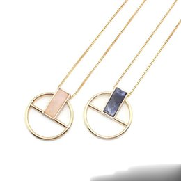 Pendant Rectangle Stone Australia - Rectangle Rose Quartz Blue Natural Stone Pendant Necklace Long Gold Chain Necklaces Geometric Circle Accessories Jewelry