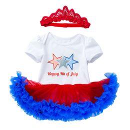 Red Blue Tutu Infant Australia - Short Sleeve Tutu Romper+headwear Baby Girl Two Piece Set Hot Sale Infant Romper Dress Fashion Cute Newborn Gift Suit