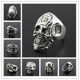 $enCountryForm.capitalKeyWord NZ - 2019 Gothic Skull Carved Big Biker Rings Men's Anti-Silver Retro Punk Rings For male Fashion Jewelry Mixed Styles bulk lots