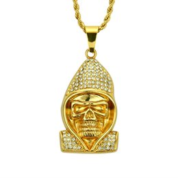 $enCountryForm.capitalKeyWord Australia - Hip Hop Cool Coat and Skull Crystal Pendant Necklace Fashion Stainless Steel Rock Gold Chain Long Necklaces Men Jewelry kolye