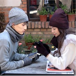 VelVet touch gloVes online shopping - 3 H logo scarves hat touch gloves set solid colors winter warm plus velvet men women wool knit set
