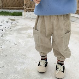 BaBy Boy korean style clothing online shopping - New Winter Unisex Kids Corduroy Pants Korean Style Children Clothes Pockets Casual Trousers Baby Boys Girls Lantern Pants