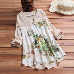 wholesale vintage linens Canada - Hot Linen Printed Blouse For Women Vintage V-Neck Floral Printing Patch Short Sleeves Top Shirt Plus Size Feminino Blusas Mujer