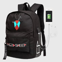 wholesale computer backpacks NZ - Raged Sheep School Backpack Student Luminous Animation School Bags For Teenager USB Charge Computer Anti-theft Laptop Backpack