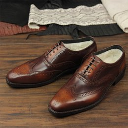 $enCountryForm.capitalKeyWord Australia - sipriks handmade patina calf leather brown dress shoes with wool winter keep warm full brogue oxfords snow wingtip suit gents
