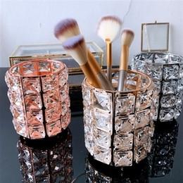 Maquillaje Enipate Europea cepillo de almacenamiento de soporte titular de la pluma de cristal Cubo lápiz de cejas peine cosméticos Caja de almacenamiento cepillo Organizador en venta