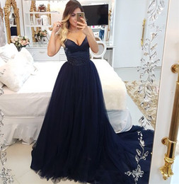 White Gown Sleeveless Red Ribbon Waist Australia - Dark Navy Prom Dresses 2019 V-Neck Straps Bead Waist Tulle Evening Gowns Cocktail Party Ball Bridesmaid Dress Special Occasion Formal Gown