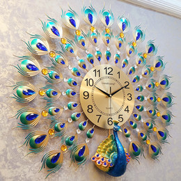 peacocks decor 2019 - 3D Peacock Wall Clock Europe Decor Wall Watch Home Living Room Bedroom Mute Clock Modern Design Metal Digital Clocks che