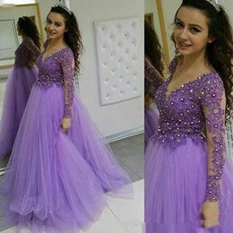 celebrity maternity evening dress images Canada - Arabic Dress legant A Line Prom Dresses V Neck Long Sleeve celebrity evening formal dresses With Applique Beads Party Gowns moroccan kaftan