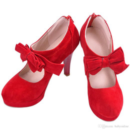 cheap high heel stilettos UK - 2019 Red Bridal Wedding Shoes Round Toe Bowtie Hollow Stiletto Heel Wedding Shoes High Quality Cheap Women's Boots Party CPA1113