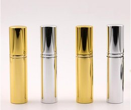 gold perfume bottle atomizer NZ - Brilliant Gold Silver 5ml Refillable Portable Mini perfume bottle &Traveler Aluminum Spray Atomizer Empty Perfume Spray Atomizer Container