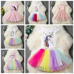 Discount xl girls tutu - cartoon unicorn baby girls dress suit Cotton tops T-shirt with bow+tutus skirts 2pcs lot children summer outfits kids pr