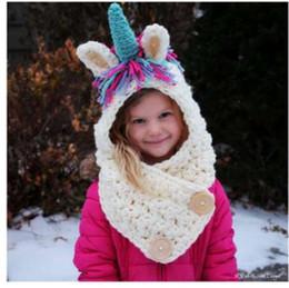Free Crochet Beanie For Baby Australia - Kids Winter Hats Girls Boys Children Unicorn Crochet Warm Caps Scarf Set Baby Bonnet Cartton Cute Hat for Girl Boy