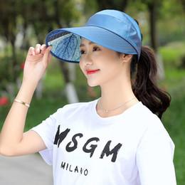 0c2e6425 2019 Hot 1PCS Women Summer Sun Hats Pearl Packable Sun Visor Hat With Big  Heads Wide Brim Beach Hat UV Protection Female Cap