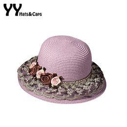 $enCountryForm.capitalKeyWord Australia - Elegant NEW Lace Straw Sun Hat for Women Tea Party Hat Ladies Flowers Lace Beach Caps Sun Visor Hat Trilby Summer YY60168