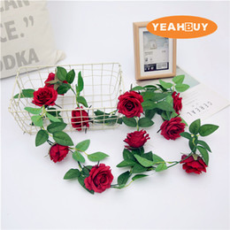 Silk White Rose Leaves Australia - 2.3M 9Colors 1PC Artificial Silk Rose Flower Vine Hanging Decorative Rattan Plants Leaves Artificials Garland Home Wedding Wall Decoration