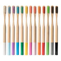 Wholesale 1PC Environmentally Wood Rainbow Toothbrush Bamboo ToothBrush Bamboo Fibre Wooden Handle Tooth Brush Whitening Rainbow