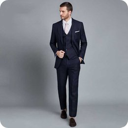 best suits Canada - Navy Blue Men Suits Wedding Tuxedo Groom Wear Formal Business Outfit Slim Fit Best Man Blazer Groomsmen Suits 3Piece Wool Costume Homme Prom