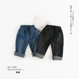 $enCountryForm.capitalKeyWord NZ - 2018 Autumn New Arrival Cotton Pure Color Hot Selling All-match Casual Jeans Pant For Cute Fashion Cool Baby Girls And Boys Y19051504