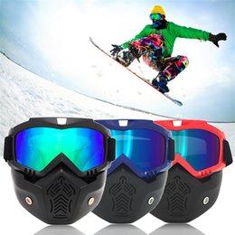 Discount ski mouth mask - New Modular Snowmobile Mask Detachable Goggles Mouth Filter Snowboard Goggles Men Women Windproof Snowboarding Skiing Ey