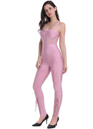 $enCountryForm.capitalKeyWord Australia - High Quality Women Sexy Lacing Thick Rayon Pink Bandage Jumpsuit Women 2019 Bodycon Knitted Slim Fashion Jumpsuit