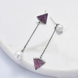 $enCountryForm.capitalKeyWord Australia - 2019 Fashion Trends Long Pendant Earrings Beautiful Pearl Purple Watermelon Fan Shaped Copper Jewelry Party Gifts High Quality