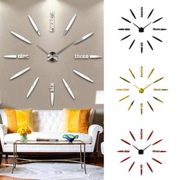 modern art simple home walls Australia - Modern Simple Design Mirror Surface Art Wall Clock Home Office 3D DIY Room Decorative Wall Clock