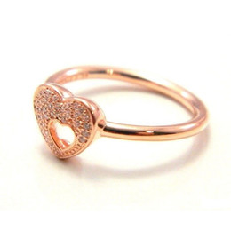 indian frames UK - Wholesale-Rose gold heart rings original silver fits for pandora style jewelry Shimmering Puzzle Heart Frame 186550CZ H8ale H8