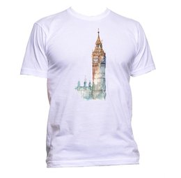 mens leather shirt jacket UK - London Big Ben UK Tower Drawing Unisex T-Shirt Mens Womens Fashion Comedy Cool hoodie hip hop t-shirt jacket croatia leather tshirt