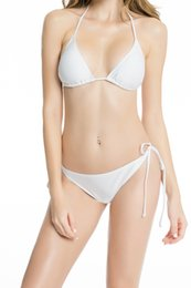 de47bd31a6 Womens Sexy Swimwear adjustable strap Removable padding Adjustable cups Tie  Side Bottom Triangle Bikini Swimsuits Bathing Suits