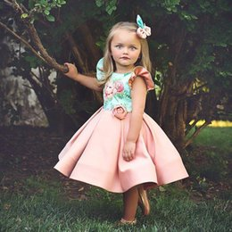 chiffon 3d flower tutu Australia - New Arrivals Princess 3D Rose Flower Dress Kids Flower Girls Bowknot Costumes Party Clothes Backless Cute Ball Gown Dresses