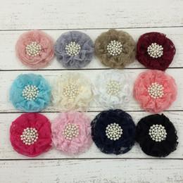 $enCountryForm.capitalKeyWord Australia - 10pcs lot 9cm 12colors Hair Clips Beaded Chiffon Flower+Pearl Rhinestone Button Shabby Lace Ruffled Fabric Flowers