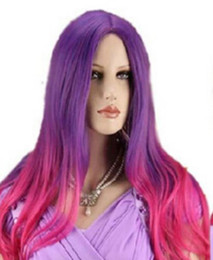 Red anime haiR wig online shopping - WIG Womens Lolita Long Wavy Purple Mix Rose Red Hair Full Wig Anime Cosplay